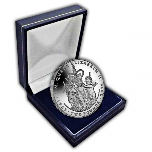 Queen Elizabeth II Sapphire Coronation Three Cherubs 2018 Uncirculated Cupro Nickel Coin
